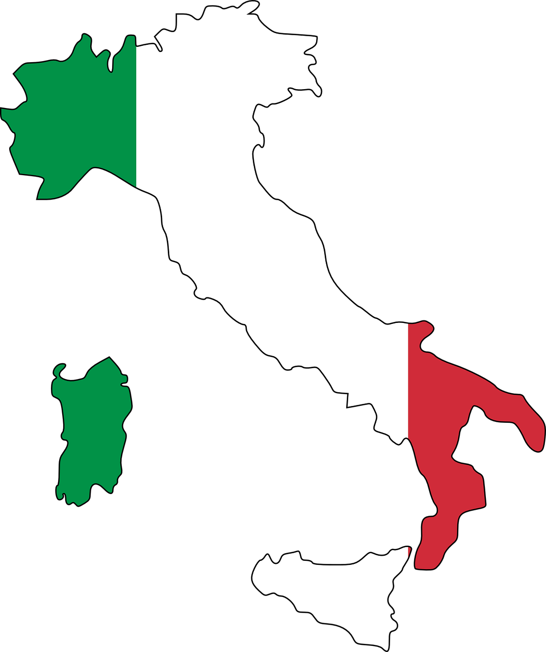 italy, flag, map
